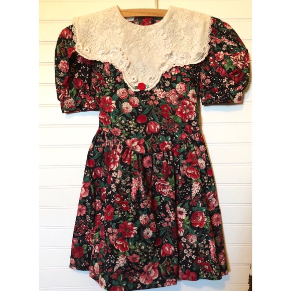 Vintage 80s Dramatic Pink Black Green Floral Dress Large XL 1980/'s 1990/'s 90s Day Dress Holiday Party Open Back Lots of Details